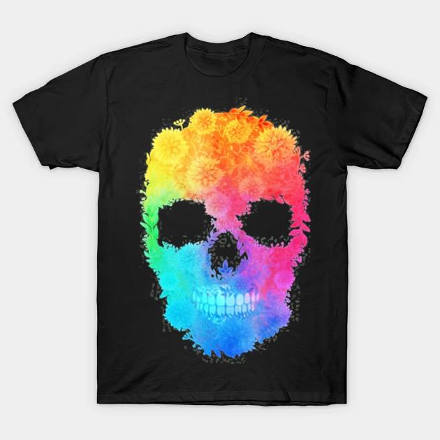 Mighty oak colorful floral skull shirt
