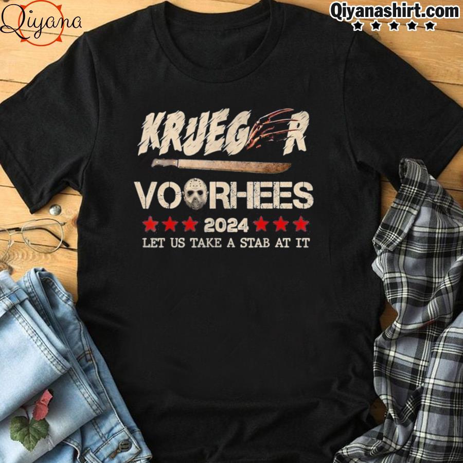 2024 let us take a stab at it halloween krueger voorhees shirt
