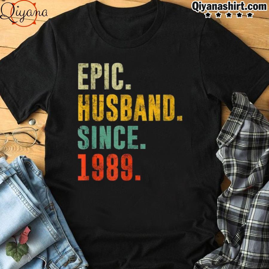 32nd Wedding Anniversary Vintage Epic Husband Since 1989 shirt