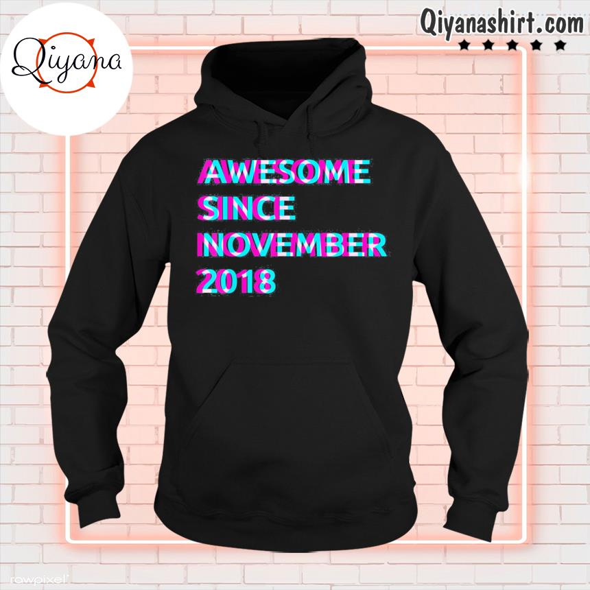 3rd birthday 3 years old awesome since november 2018 unisex s hoodie-black