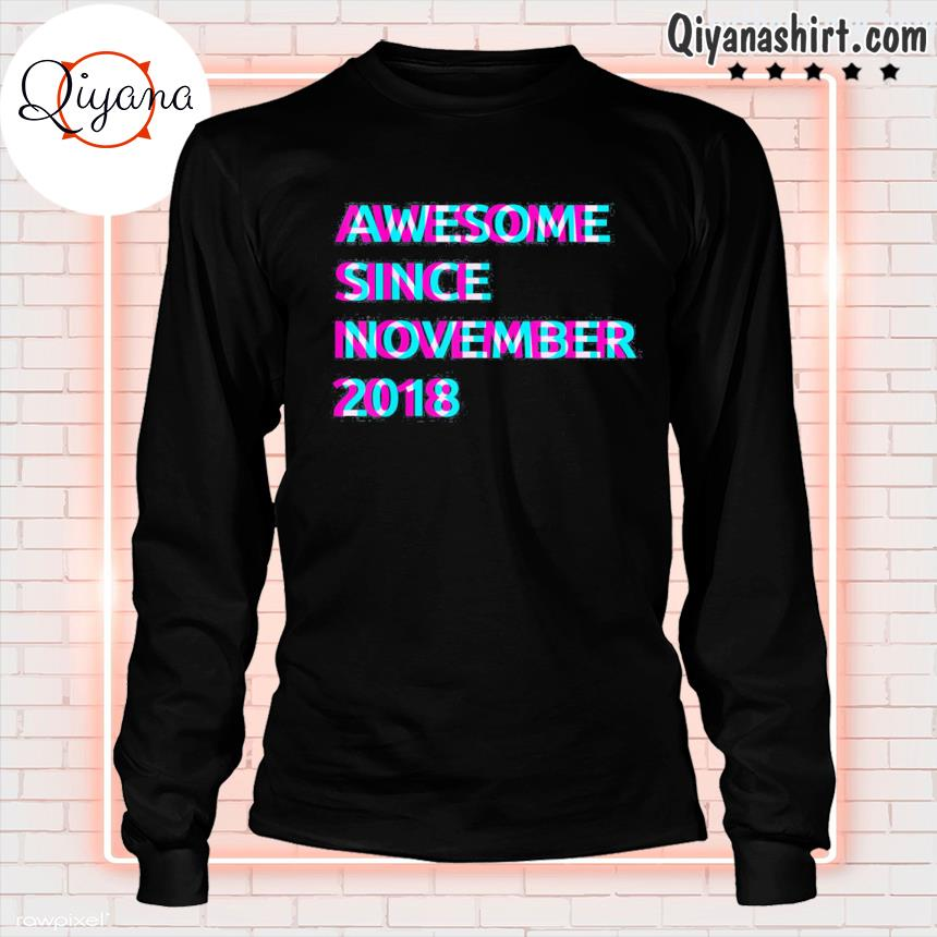 3rd birthday 3 years old awesome since november 2018 unisex s longsleve-black