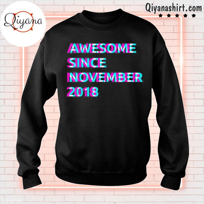 3rd birthday 3 years old awesome since november 2018 unisex s sweatshirt-black