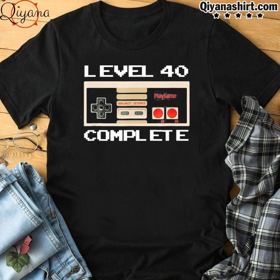 40th birthday ideas level 40 complete gamer tee shirt